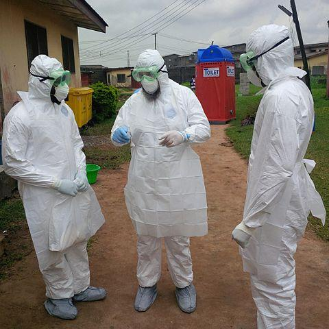 Nigerian doctors training on PPE by WHO during the Ebola breakout Image credit: By CDC Global - PPE Training, CC BY 2.0, https://commons.wikimedia.org/w/index.php?curid=36016390