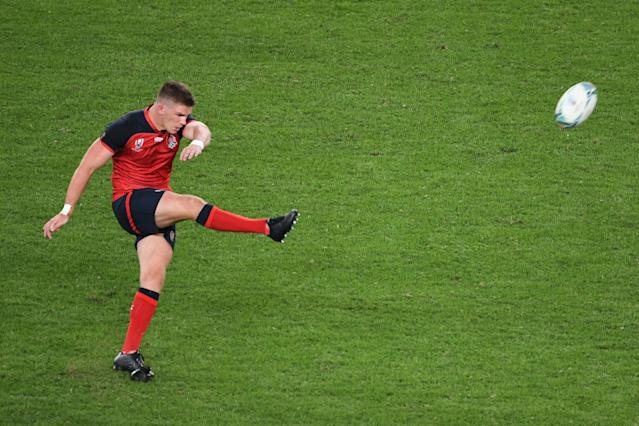 Owen Farrell endured a woeful first half with a series of misses - but returned back to his usual self in the second half. (Photo by William WEST / AFP)
