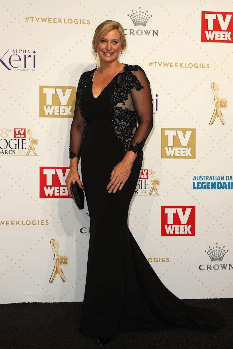 Johanna Griggs arrives at the 58th Annual Logie Awards at Crown Palladium on May 8, 2016 in Melbourne, Australia dresses in a long black dress