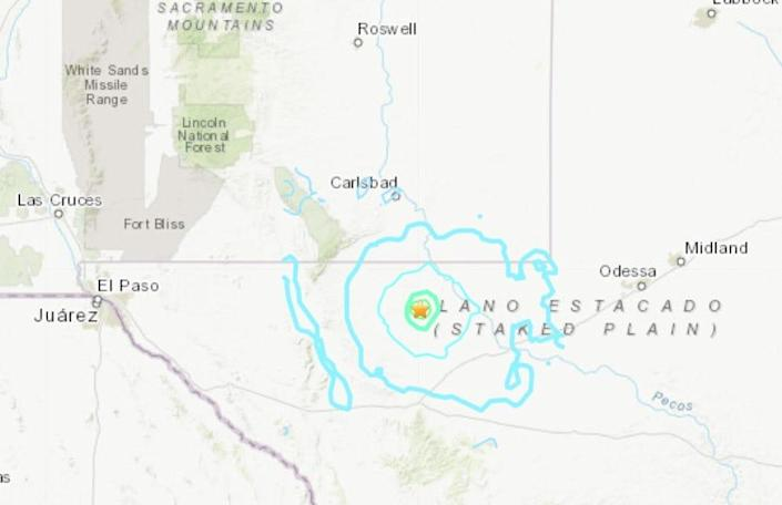 The epicenter of the earthquake was located about 175 miles east of El Paso, Texas.
