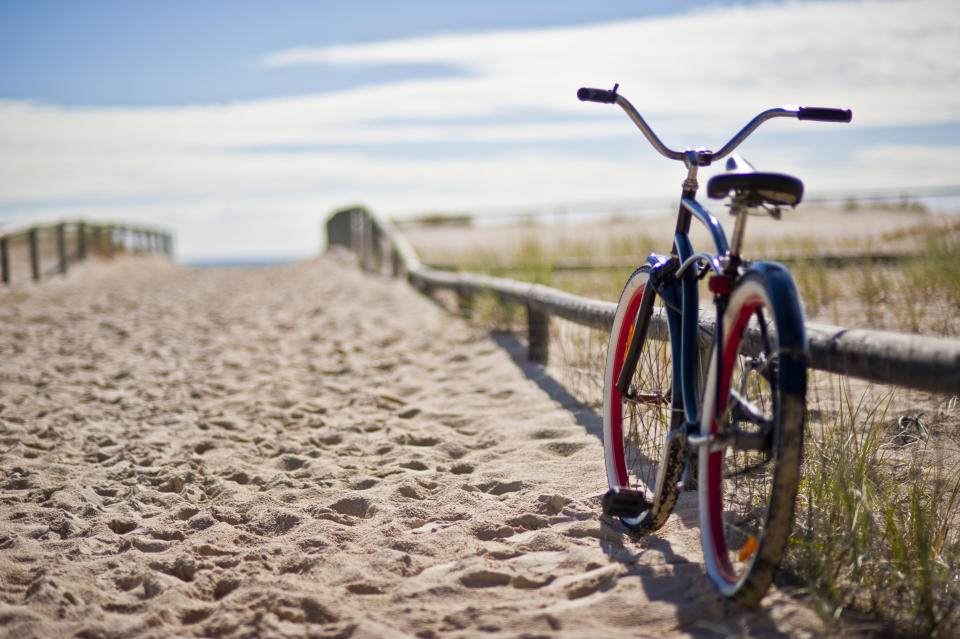 Sunny day at the beach with a bike