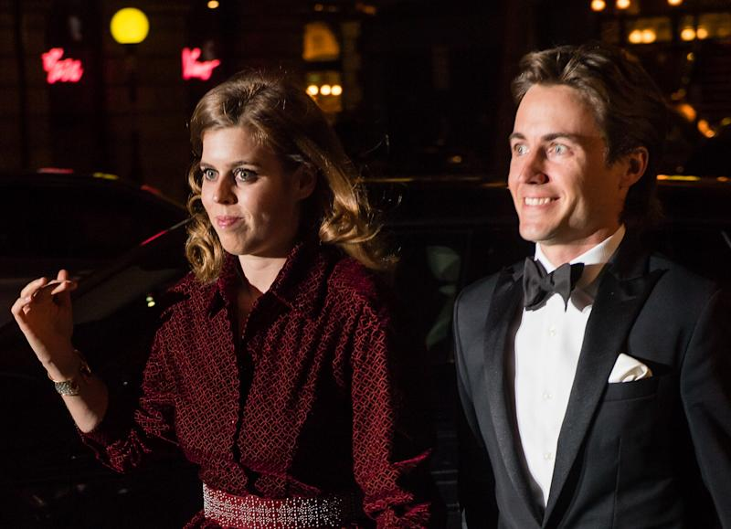 LONDON, ENGLAND - MARCH 12: Princess Beatrice of York and Edoardo Mapelli Mozzi attend the Portrait Gala 2019 at the National Portrait Gallery on March 12, 2019 in London, England. (Photo by Samir Hussein/Samir Hussein/WireImage)
