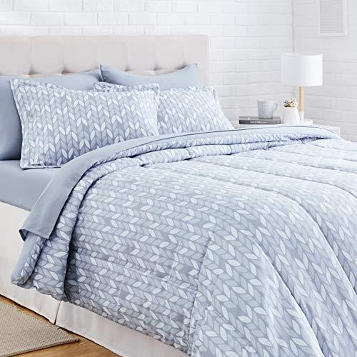 AmazonBasics 7-Piece Light-Weight Microfiber Bed-In-A-Bag Comforter Bedding Set - Full or Queen, Grey Leaf (Amazon / Amazon)