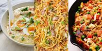 """<p>Whether it's dark or white meat, breast or leg, there's a range of delicious recipes that'll use up leftover chicken. And we're not just talking about <a href=""""https://www.delish.com/uk/cooking/recipes/a32638460/best-chicken-salad-sandwich-recipe/"""" rel=""""nofollow noopener"""" target=""""_blank"""" data-ylk=""""slk:Chicken Salad Sandwiches"""" class=""""link rapid-noclick-resp"""">Chicken Salad Sandwiches</a>, we're talking about <a href=""""https://www.delish.com/uk/cooking/recipes/a32593647/best-buffalo-chicken-pizza-recipe/"""" rel=""""nofollow noopener"""" target=""""_blank"""" data-ylk=""""slk:Buffalo Chicken Pizza"""" class=""""link rapid-noclick-resp"""">Buffalo Chicken Pizza</a>, <a href=""""https://www.delish.com/uk/cooking/recipes/a29124077/easy-crockpot-chicken-noodle-soup-recipe/"""" rel=""""nofollow noopener"""" target=""""_blank"""" data-ylk=""""slk:Chicken Noodle Soup"""" class=""""link rapid-noclick-resp"""">Chicken Noodle Soup</a>, <a href=""""https://www.delish.com/uk/cooking/recipes/a30959950/chicken-chow-mein-recipe/"""" rel=""""nofollow noopener"""" target=""""_blank"""" data-ylk=""""slk:Chicken Chow Mein"""" class=""""link rapid-noclick-resp"""">Chicken Chow Mein</a> and more. Told you, loads of leftover chicken recipes! For a selection of 32 easy ways to use up leftover chicken, take a look at some of our fave <a href=""""https://www.delish.com/uk/chicken-recipes/"""" rel=""""nofollow noopener"""" target=""""_blank"""" data-ylk=""""slk:chicken recipes"""" class=""""link rapid-noclick-resp"""">chicken recipes</a> now. </p>"""