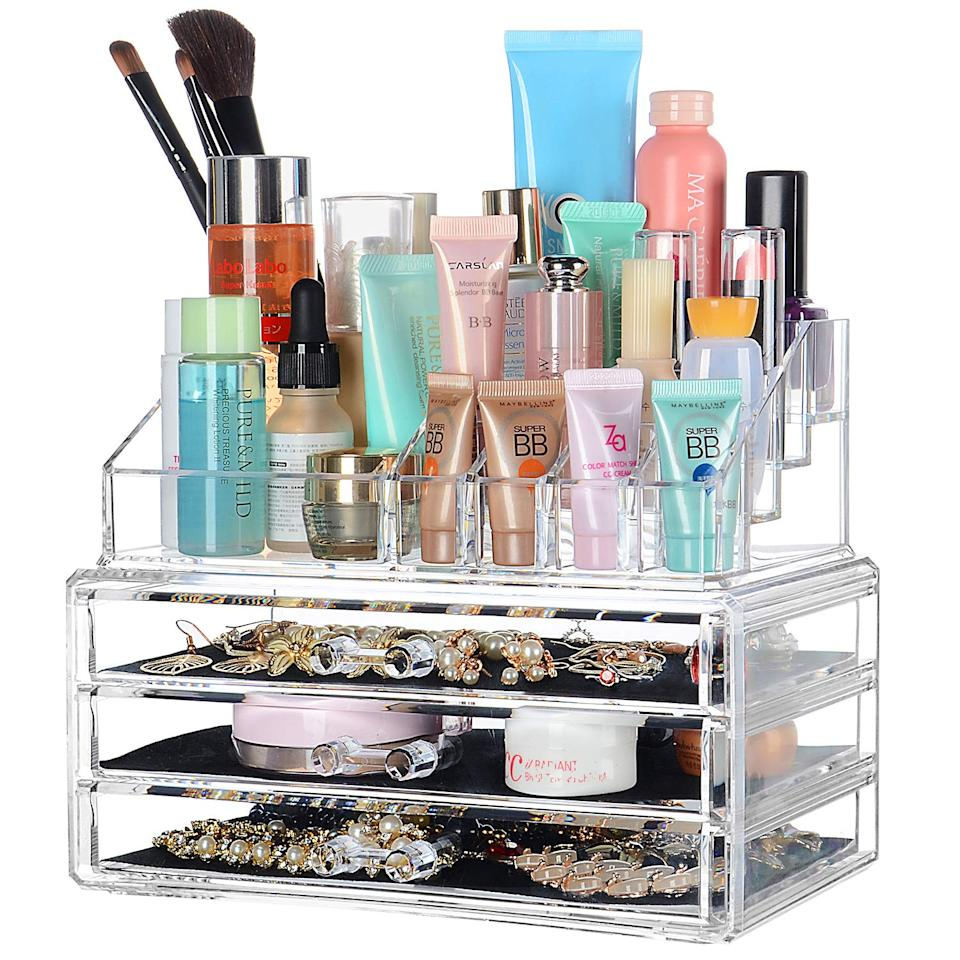 SortWise ® [DIY Buildable - L] Detachable 3 Drawers Acrylic Cosmetic Makeup Cosmetics Organizer Clear Storage Container Box Case