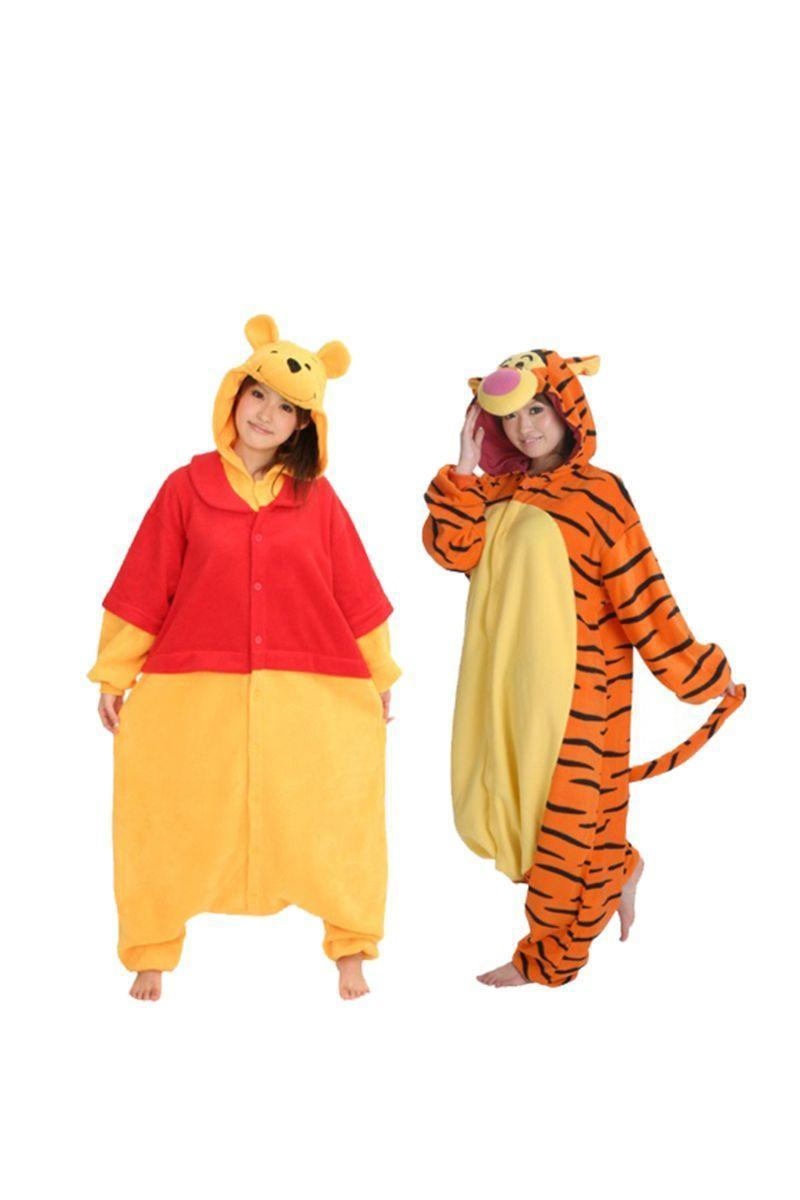 """<p>Be comfortable and cute with your significant other with these Pooh and Tigger onesies that also double as pajamas. For an extra accessory, carry a jar of honey!</p><p><a class=""""link rapid-noclick-resp"""" href=""""https://go.redirectingat.com?id=74968X1596630&url=https%3A%2F%2Fwww.halloweencostumes.com%2Fpooh-pajama-costume.html&sref=https%3A%2F%2Fwww.womansday.com%2Fstyle%2Fg28691602%2Fdisney-couples-costumes%2F"""" rel=""""nofollow noopener"""" target=""""_blank"""" data-ylk=""""slk:SHOP POOH COSTUME"""">SHOP POOH COSTUME</a></p><p><a class=""""link rapid-noclick-resp"""" href=""""https://go.redirectingat.com?id=74968X1596630&url=https%3A%2F%2Fwww.halloweencostumes.com%2Fwinnie-the-pooh-tigger-deluxe-adult-costume.html&sref=https%3A%2F%2Fwww.womansday.com%2Fstyle%2Fg28691602%2Fdisney-couples-costumes%2F"""" rel=""""nofollow noopener"""" target=""""_blank"""" data-ylk=""""slk:SHOP TIGGER COSTUME"""">SHOP TIGGER COSTUME</a> </p>"""