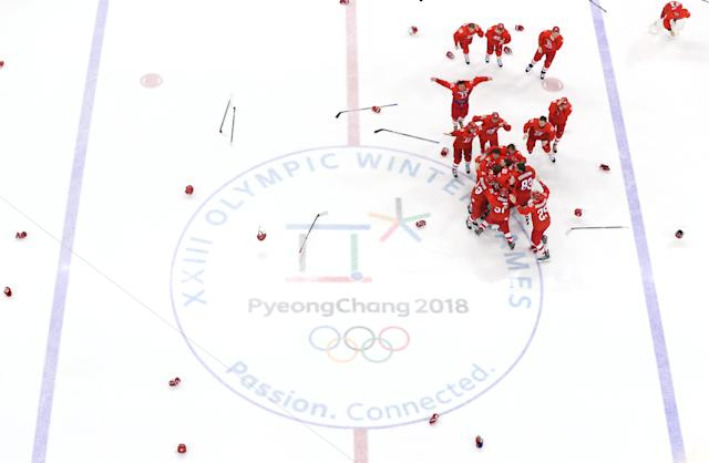 <p>Gold medal winners Olympic Athletes from Russia celebrate after defeating Germany 4-3 in overtime during the Men's Gold Medal Game on day sixteen of the PyeongChang 2018 Winter Olympic Games at Gangneung Hockey Centre on February 25, 2018 in Gangneung, South Korea. (Photo by Harry How/Getty Images) </p>