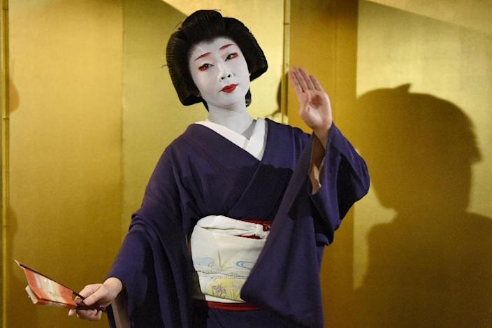 Kyoto's geishas start off as maids at the age of 15, and spend the next five years training in performing arts, gracious social etiquette and conversation skills before assuming the title of geiko (AFP Photo/Toru Yamanaka)