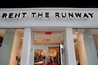 The Rent The Runway store, an online subscription service for women to rent designer dress and accessory items, is seen in New York City