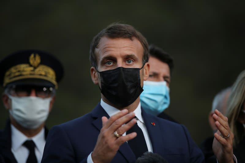 FILE PHOTO: French President Macron visits southern region devastated by Storm Alex