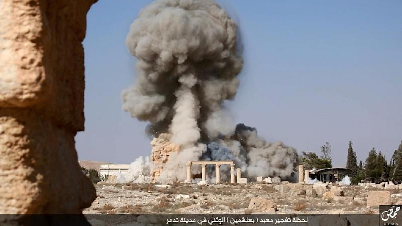 Image published by Islamic State group in Homs province (Welayat Homs) shows an explosion at Baal Shamin temple in Syria's ancient city of Palmyra (AFP is not responsible for any digital alteration to content which cannot be independently verified) (AFP Photo/)
