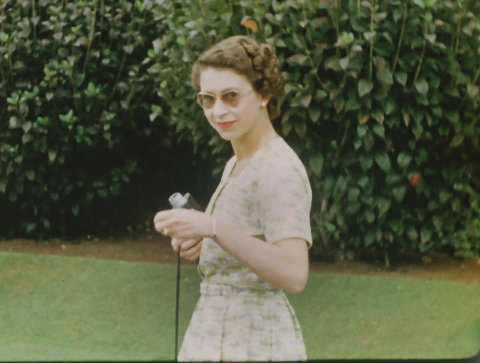 From Factual Fiction  THE QUEEN UNSEEN Thursday 8th April 2021 on ITV   Pictured: A young Queen wearing sunglasses and holding a Cine camera on Christmas Day, 1953: In the middle of a gruelling 6 month tour, The Queen and Prince Philip spent Christmas at a private house, as a guest of the Governor General of New Zealand, Sir Willoughby Norrie  The Queen is the most famous woman in the world, yet as she reaches her 95th birthday she remains an enigma. In this unique film, we lift the mask of royalty to reveal the remarkable woman behind the throne. To learn more about the hidden private Elizabeth Windsor, who has sacrificed so much for crown and duty and discover how she has coped with increasing public demands to reveal every aspect of her private self.   Using unseen home movies, intimate informal archive and recently digitised 'lost' material from some of the 116 countries she has visited, we'll uncover the real Elizabeth Windsor.  In rare off-duty moments we'll discover The Queen on holiday, as a mother, wife, cook, animal lover, farmer, and expert horsewoman.  This remarkable footage shows her true passions and some of the unlikely, unknown friendships she has forged away from the public eye.  (c) Factual Fiction.  For further information please contact Peter Gray 07831 460 662 peter.gray@itv.com    This photograph is © Factual Fiction and can only be reproduced for editorial purposes directly in connection with the programme. THE QUEEN UNSEEN or ITV. Once made available by the ITV Picture Desk, this photograph can be reproduced once only up until the Transmission date and no reproduction fee will be charged. Any subsequent usage may incur a fee. This photograph must not be syndicated to any other publication or website, or permanently archived, without the express written permission of ITV Picture Desk. Full Terms and conditions are available on the website https://www.itv.com/presscentre/itvpictures/terms