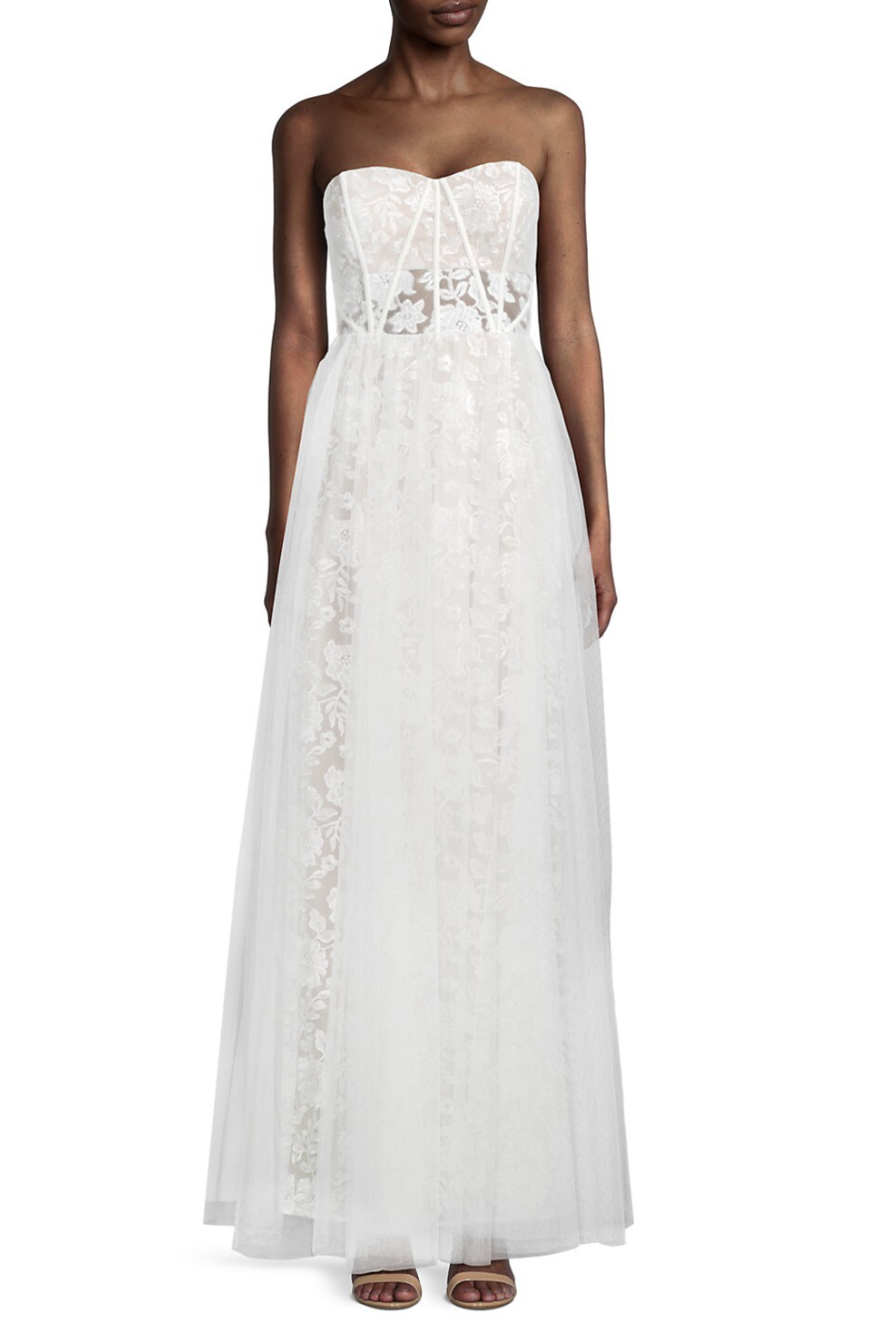 Aidan Mattox Strapless Embroidered Mesh Gown (Photo via Saks Off Fifth)