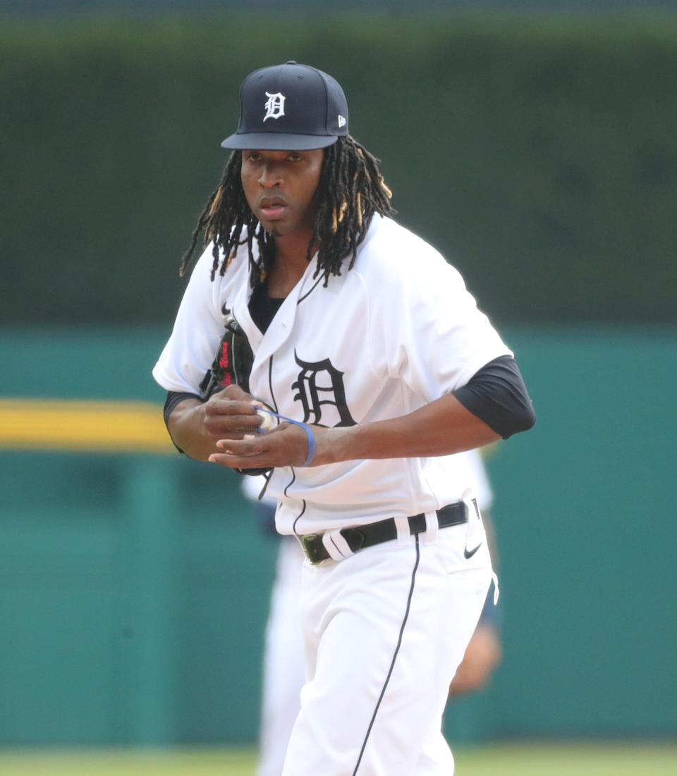 Detroit Tigers starting pitcher Jose Urena (62) pitches against the Minnesota Twins during the first inning Monday, April 5, 2021, at Comerica Park in Detroit.