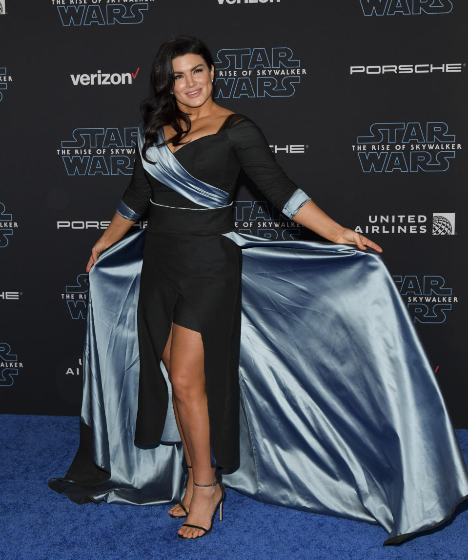 "HOLLYWOOD, CALIFORNIA - DECEMBER 16: Gina Carano attends the Premiere of Disney's ""Star Wars: The Rise Of Skywalker"" on December 16, 2019 in Hollywood, California. (Photo by Rodin Eckenroth/WireImage)"