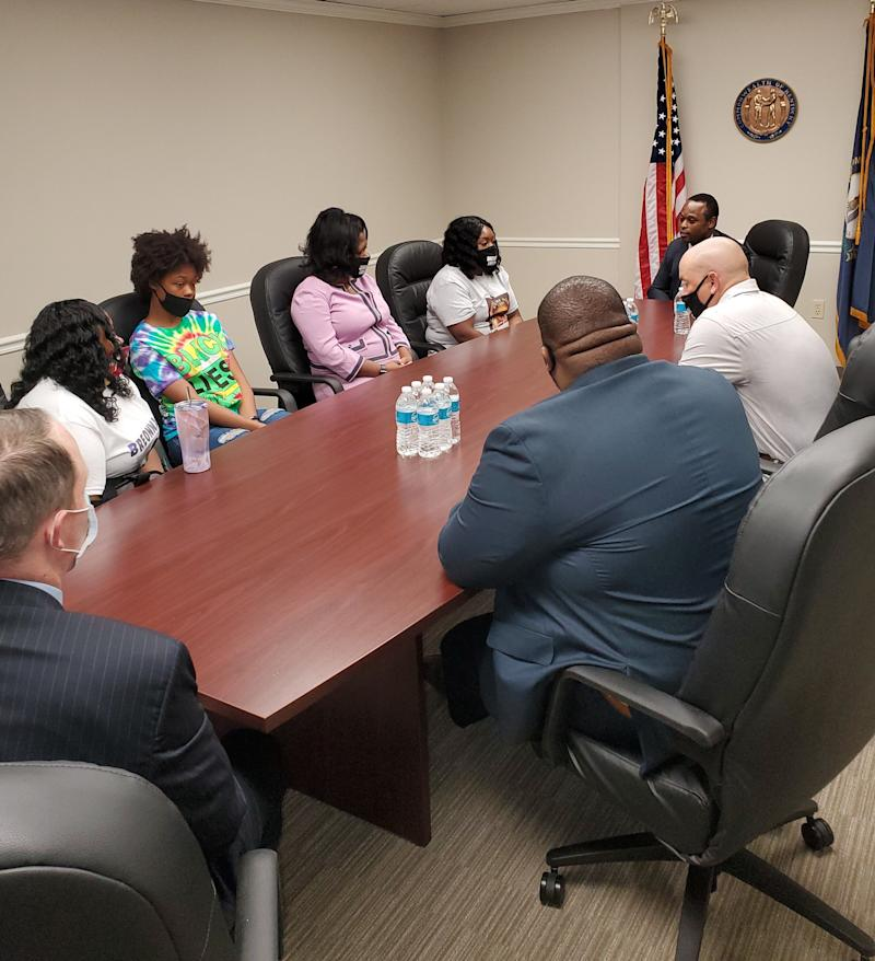 Kentucky Attorney General Daniel Cameron meets with members of Breonna Taylor's family about the investigation into her March 13, 2020, slaying by Louisville Metro Police officers.