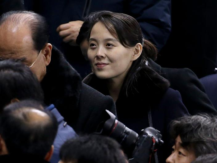 Kim Yo-jong, sister of Kim Jong-un attends the women's ice hockey preliminary match between Korea and Switzerland during the 2018 Winter Olympic Games at Kwandong Hockey Centre on February 10, 2018 in Gangneung, Pyeongchang, South Korea.
