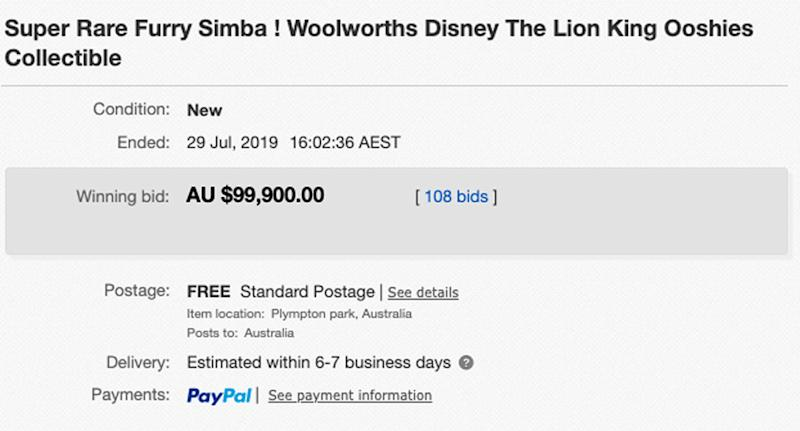 Photo showing the sale of Woolworths Simba Ooshie on eBay for almost $100,000 from lister in Adelaide.