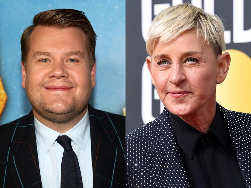 """People are comparing James Corden and Ellen DeGeneres after it was reported that Corden might be """"in line"""" to replace her."""