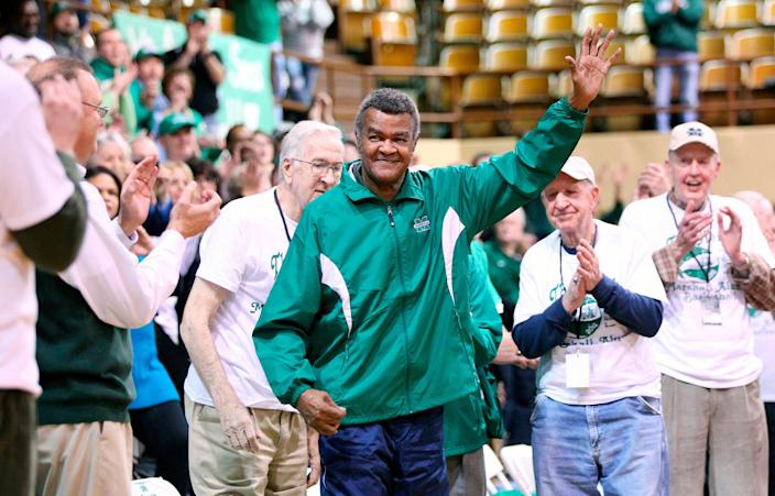 Former Marshall basketball and NBA star Hal Greer receives a standing ovation during the Veterans Memorial Field House Finale in 2012 in Huntington, W.Va.