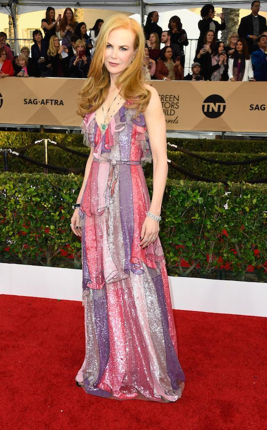 In colourful Gucci at the 2016 Screen Actors Guild Awards.