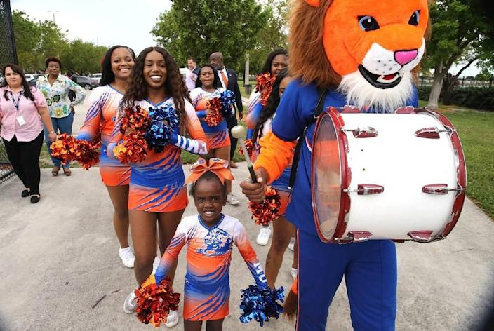Florida Memorial University cheerleaders during a ceremony celebrating the college's return to football, May 4, 2019. FMU Board of trustees announced the revival of the FMU football team at the Berry T. Ferguson Recreational Complex where their games will be played.