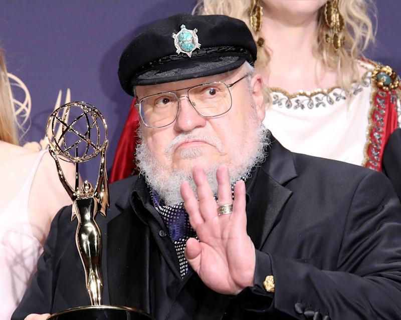 LOS ANGELES, CA - SEPTEMBER 22: George R. R. Martin poses with award for Outstanding Drama Series in the press room during the 71st Emmy Awards at Microsoft Theater on September 22, 2019 in Los Angeles, California. (Photo by Dan MacMedan/WireImage)
