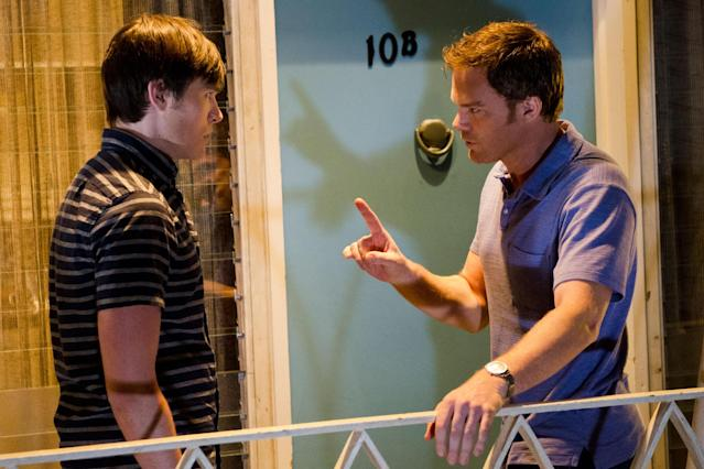 "Sam Underwood as Zach Hamilton and Michael C. Hall as Dexter Morgan in the ""Dexter"" Season 8 episode, ""Dress Code."""