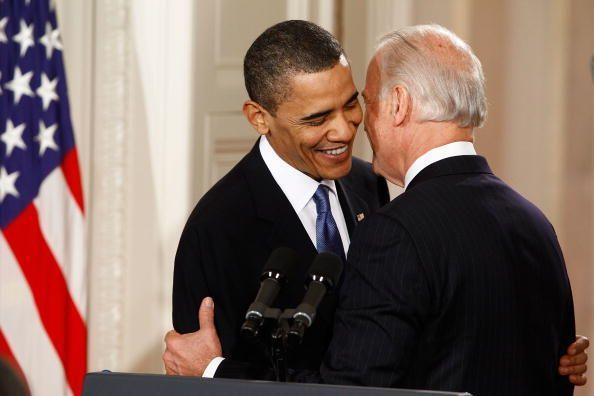"""<p>Obama is embraced by Biden before signing the Affordable Health Care for America Act—also known as Obamacare—during a ceremony in the East Room of the White House March 23, 2010. Biden was heard on an open mic during this exchange telling the president, """"Mr. President, this is a big fuckin' deal."""" The landmark bill was passed by the House of Representatives after a 14-month-long political battle that left the legislation without a single Republican vote. </p>"""