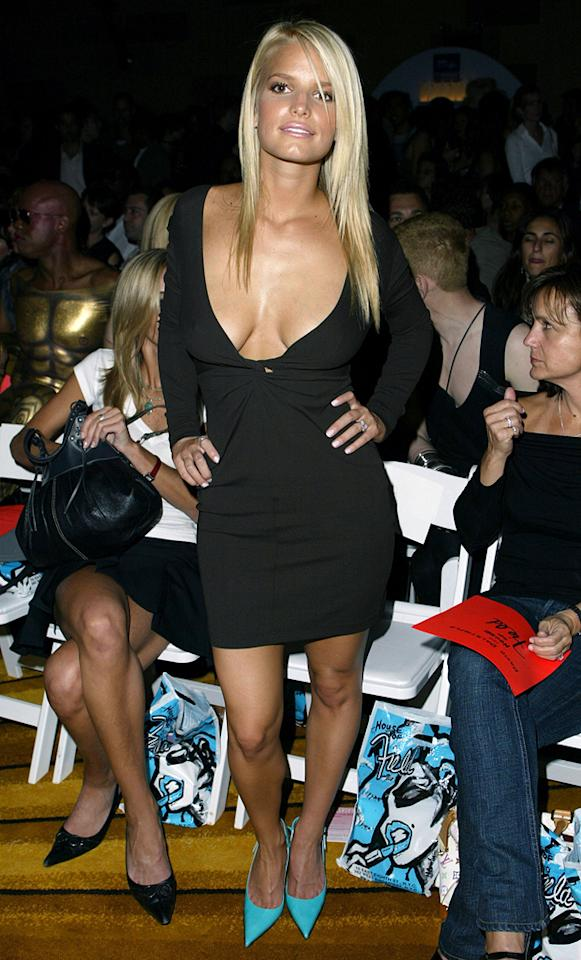A long-sleeved cocktail dress and a bright pair of pumps -- how could you go wrong? Well, unfortunately for Jessica Simpson, a dangerously low-plunging neckline with the potential for a major wardrobe malfunction was enough to cause fashion critics to cringe at Mercedes-Benz Fashion Week back in 2003.