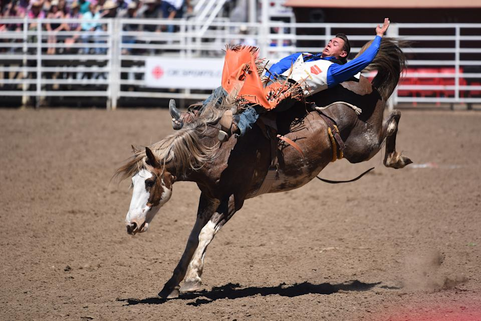 CALGARY, AB - JULY 07: A bareback rider competes at the Calgary Stampede on July 7, 2018 at Stampede Park in Calgary, AB. (Photo by Brett Holmes/Icon Sportswire via Getty Images)