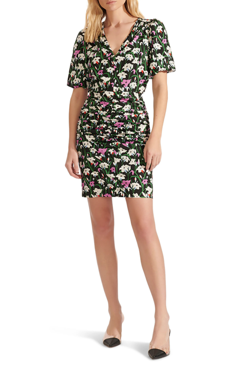 Veronica Beard Janis Ruched Skirt Floral Minidress. Image via Nordstrom.