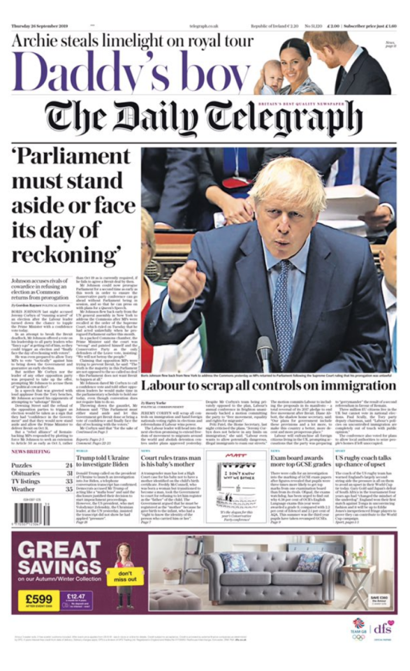 The Telegraph's front page carried the headline: 'Parliament must stand aside or face its day of reckoning', referring to Boris Johnson's accusation of Labour cowardice over a general election.
