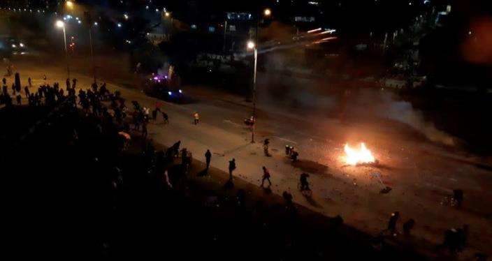 Anti-government protests continue during the night in Bogota