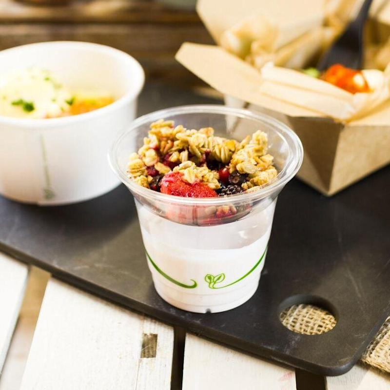 Plant-based compostable packaging is designed to be recycled with food waste (Vegware)