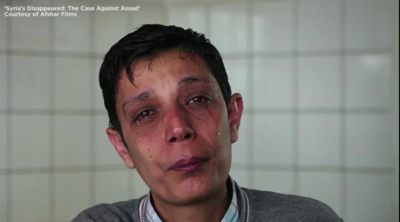 Mazan Alhummada, a human rights activist who was detained and tortured in Syria. (Screen capture from 'Syria's Disappeared: The Case against Assad')