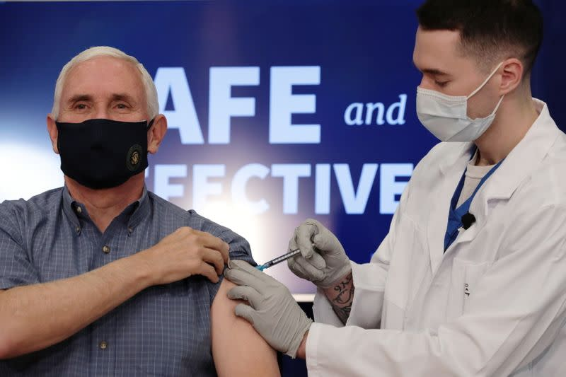 U.S. Vice President Mike Pence receives the COVID-19 vaccine at the White House in Washington