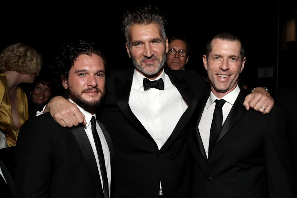 LOS ANGELES, CA - SEPTEMBER 17:  70th ANNUAL PRIMETIME EMMY AWARDS -- Pictured: Kit Harington, David Benioff and D. B. Weiss attend the 70th Annual Primetime Emmy Awards held at the Microsoft Theater on September 17, 2018.  NUP_184222  (Photo by Todd Williamson/NBC/NBCU Photo Bank via Getty Images)
