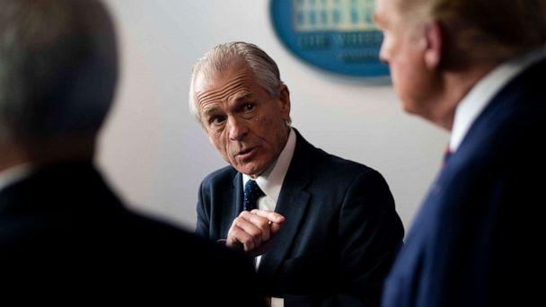 PHOTO: White House trade adviser Peter Navarro gestures while addressing a news conference about the coronavirus response with President Donald Trump, and Vice President Mike Pence, at the White House in Washington, April 2, 2020. (Doug Mills/The New York Times via Redux)