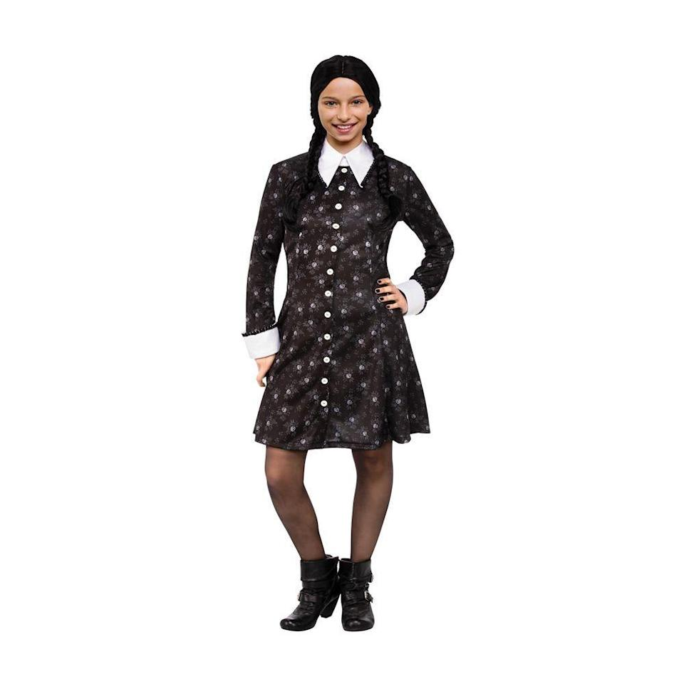 """<p><strong>halloweencostumes.com</strong></p><p>halloweencostumes.com</p><p><strong>$34.99</strong></p><p><a href=""""https://go.redirectingat.com?id=74968X1596630&url=https%3A%2F%2Fwww.halloweencostumes.com%2Faddams-family-wednesday-girls-costume.html%3Fmpid%3D233776&sref=https%3A%2F%2Fwww.bestproducts.com%2Flifestyle%2Fg3023%2Fwednesday-addams-costume-dress%2F"""" rel=""""nofollow noopener"""" target=""""_blank"""" data-ylk=""""slk:Shop Now"""" class=""""link rapid-noclick-resp"""">Shop Now</a></p><p>If your mini-monster is a fan of Wednesday, we commend you on your parenting skills. Seriously, we love her. This costume for kids includes just a skull-printed button-down dress that's slightly untraditional, but still recognizable. </p>"""