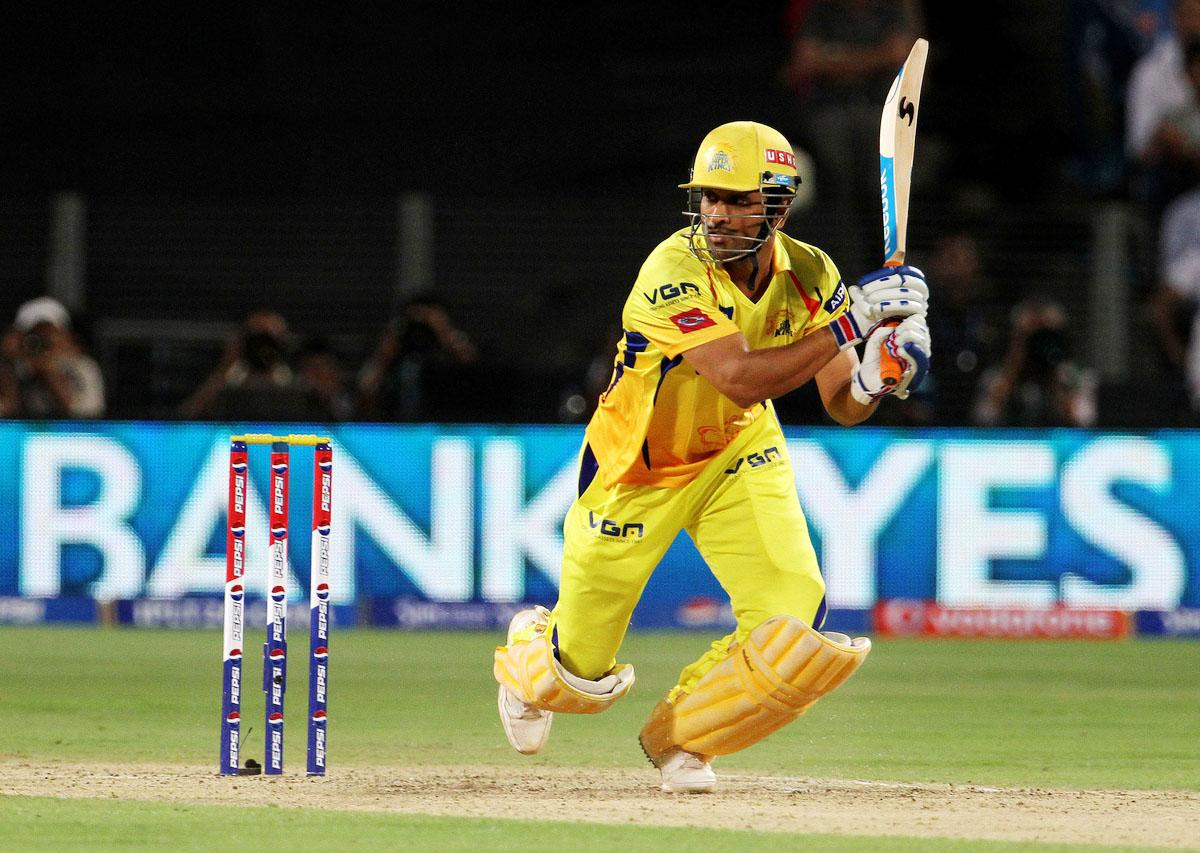 Chennai Super King captain MS Dhoni plays a shot during match 42 of the Pepsi Indian Premier League ( IPL) 2013  between The Pune Warriors India and the Chennai Superkings held at the Subrata Roy Sahara Stadium, Pune on the 30th April  2013. (BCCI)