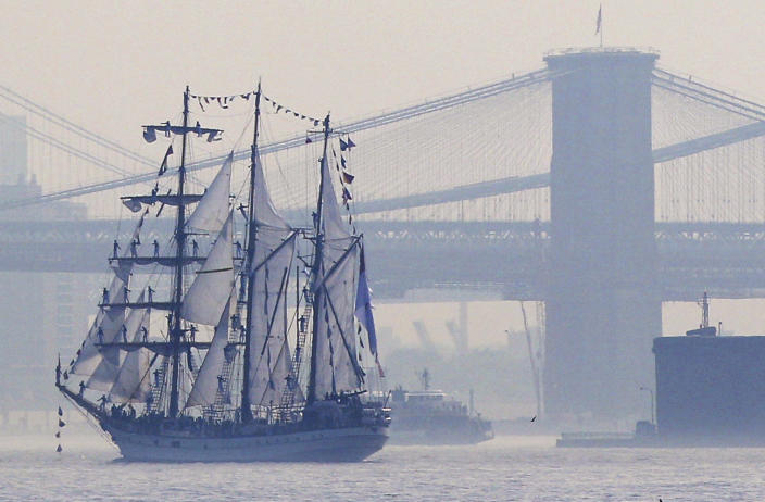 Tall ships travel up the Hudson River past New York City bridges as seen from Bayonne, N.J., Wednesday, May 23, 2012. Naval vessels ranging from a U.S. amphibious assault ship to a Finnish minelayer are participating in New York City's Fleet Week. (AP Photo/Seth Wenig)
