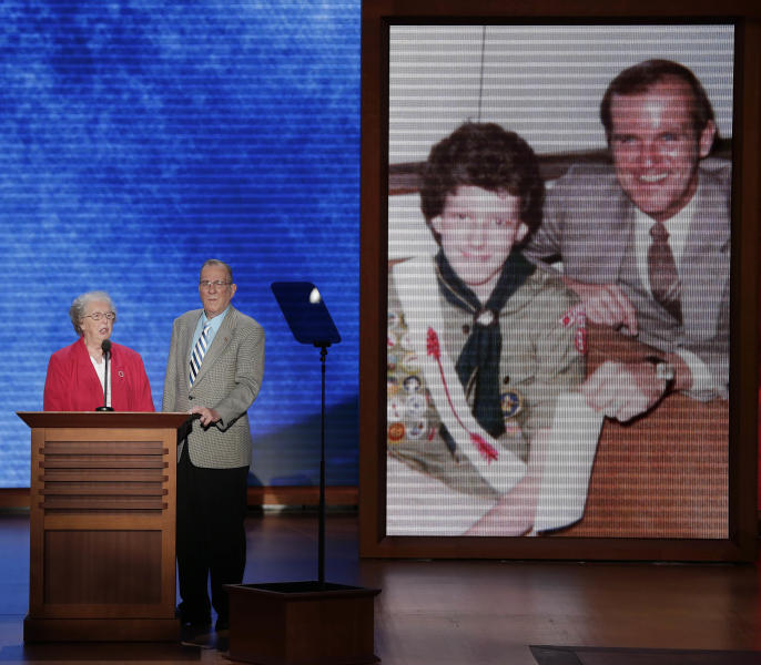 Ted and Pat Oparowsky addresses the Republican National Convention in Tampa, Fla., on Thursday, Aug. 30, 2012. Mitt Romney read the eulogy at their sons funeral. (AP Photo/J. Scott Applewhite)