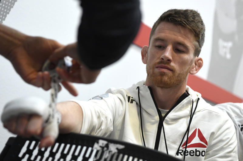 LAS VEGAS, NEVADA - JUNE 06: Cory Sandhagen has his hands wrapped backstage during the UFC 250 event at UFC APEX on June 06, 2020 in Las Vegas, Nevada. (Photo by Mike Roach/Zuffa LLC)