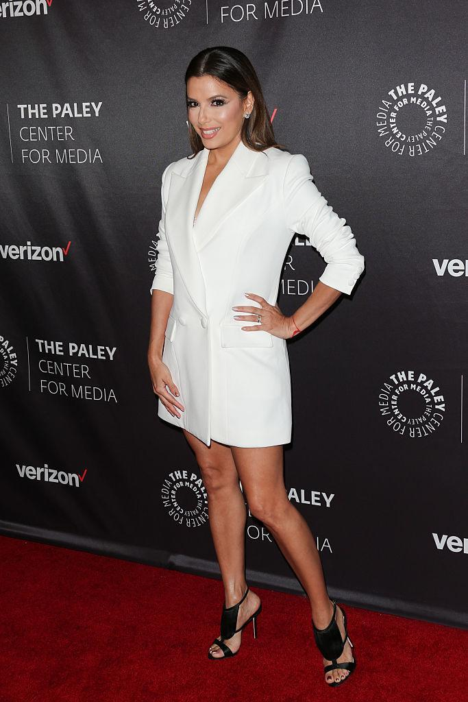 <p>A the Hollywood tribute to Hispanic achievements in television, Longoria nailed the white, double-breasted blazer but skipped out on the tuxedo pants. <i>(Photo by Paul Archuleta/FilmMagic)</i><br></p>