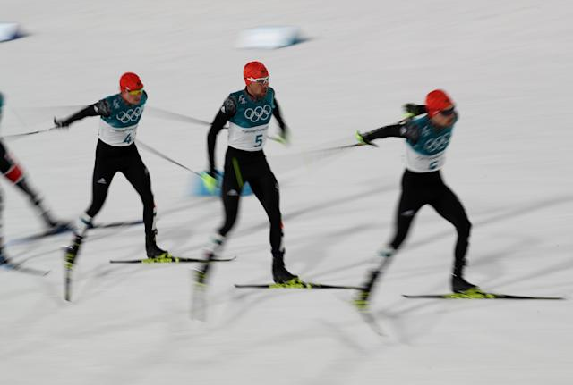 Nordic Combined Events - Pyeongchang 2018 Winter Olympics - Men's Individual 10 km Final - Alpensia Cross-Country Skiing Centre - Pyeongchang, South Korea - February 20, 2018 - Eric Frenzel of Germany, Johannes Rydzek of Germany and Fabian Riessle of Germany in action. REUTERS/Carlos Barria