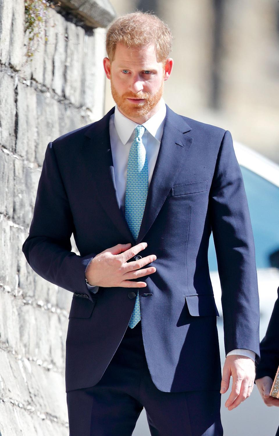 WINDSOR, UNITED KINGDOM - APRIL 21: (EMBARGOED FOR PUBLICATION IN UK NEWSPAPERS UNTIL 24 HOURS AFTER CREATE DATE AND TIME) Prince Harry, Duke of Sussex attends the traditional Easter Sunday church service at St George's Chapel, Windsor Castle on April 21, 2019 in Windsor, England. Easter Sunday this year coincides with Queen Elizabeth II's 93rd birthday. (Photo by Max Mumby/Indigo/Getty Images)