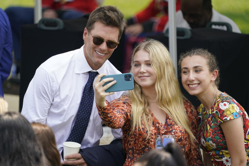 Tampa Bay Buccaneers quarterback Tom Brady poses for a photo after ceremony on the South Lawn of the White House, in Washington, Tuesday, July 20, 2021, where President Joe Biden honored the Super Bowl Champion Tampa Bay Buccaneers for their Super Bowl LV victory. (AP Photo/Andrew Harnik)