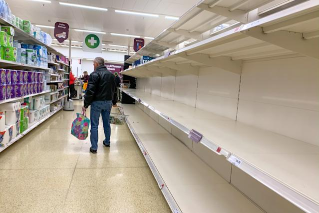 Empty shelves in a supermarket in London as shoppers stockpile items during the coronavirus outbreak (Getty Images)