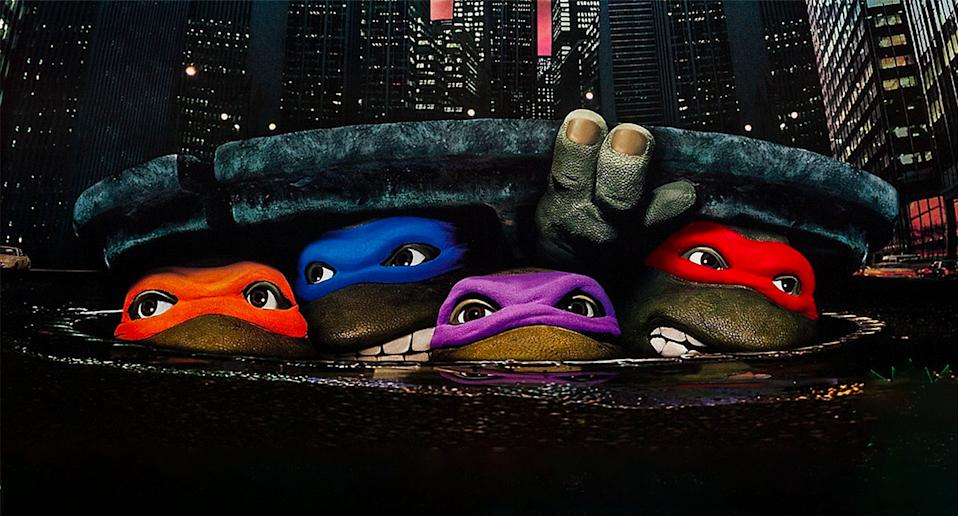 Detail from the 1990 poster for <i>Teenage Mutant Ninja Turtles</i>. (New Line Cinema)